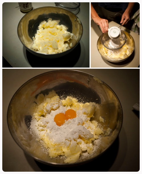 Add the melted butter, icing sugar and egg yolks in a big mixing bowl