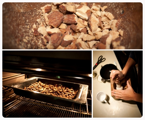 Roast the raw almonds in the oven for 30 minutes or until they are crunchy. Then crush them slightly