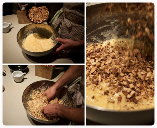 Add the crashed roasted almonds in the mixture and keep blending with your hands.