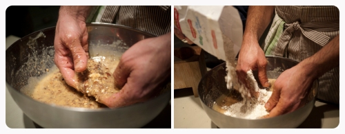 Start adding the flour in the mixture